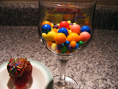 sweet tooth (ḋạḳọṭạ) Tags: pink blue red orange macro green glass strawberry purple chocolate bowl sprinkles coolest gumballs countertop chocolatecoveredstrawberry