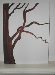 Coppery Tree - acrylic painting on canvas