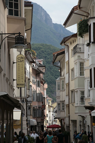 Street-life in the narrow roads of Bolzano
