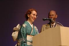 Stan Schmidt gives the Campbell Award to Naomi Novik