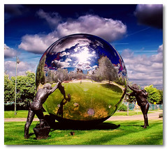 The World Just Got Small, Again (Finntasia) Tags: world summer people sculpture kent globe internet sphere pf kingshill westmalling mywinners flickrgold colorphotoaward colourphotoaward superbmasterpiece diamondclassphotographer finntasia flickrphotoaward nigelfinn