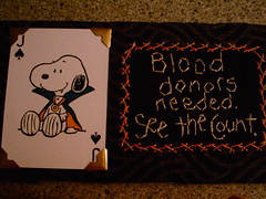 blood donors needed..... (shebrews) Tags: halloween collage embroidery peanuts stitchery