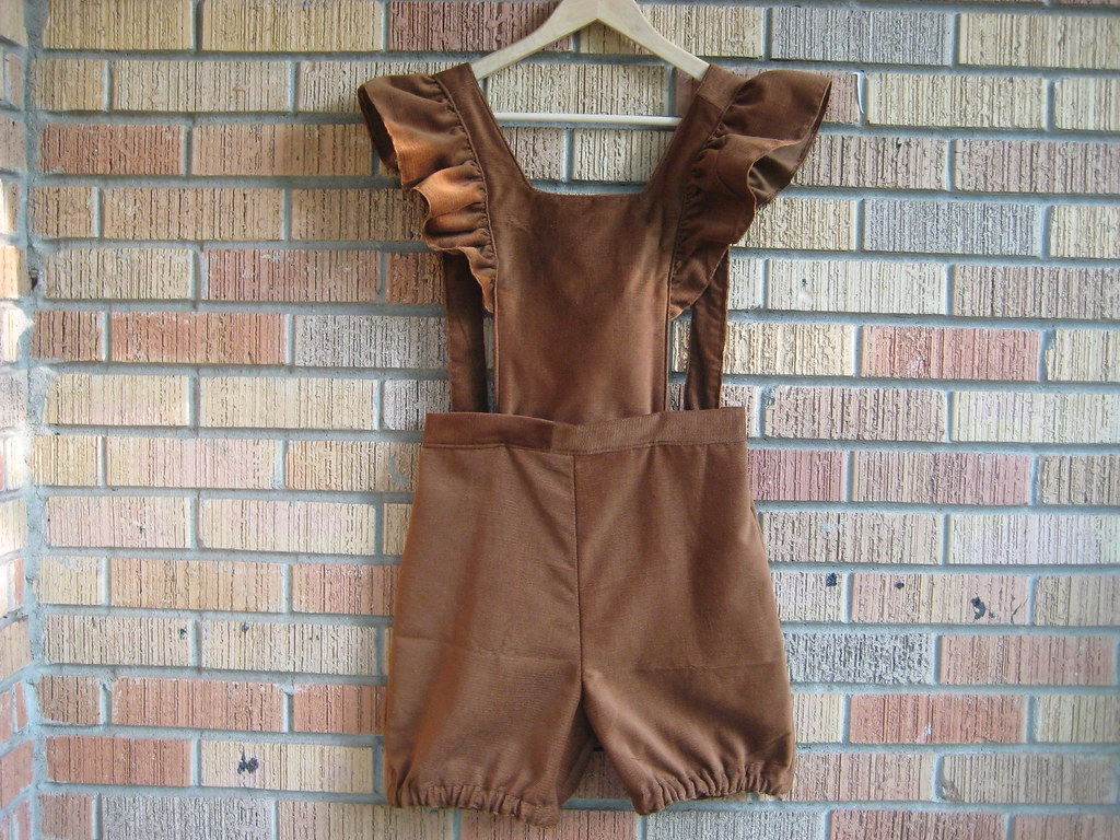 sewing saturday. handmade corduroy overalls with ruffles and bloomer shorts