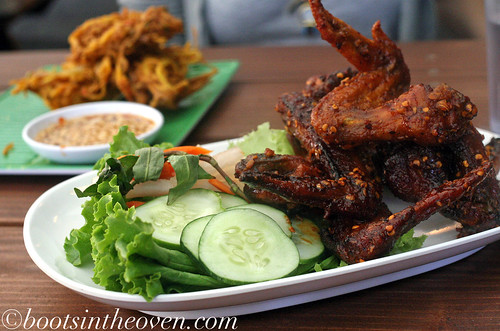 Ike's Vietnamese Fish Sauce Wings and Khang Pong - green papaya fritters, Mae Hong Son style