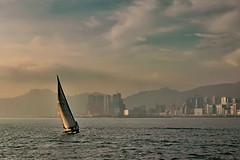 Victoria Harbour, Hong Kong (davidhuiphoto) Tags: mountain landscape boat harbour foggy