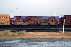Kems (huntingtherare) Tags: train bench graffiti panning freight kem lateevening rollingstock wholecar thebench benching kems kemsr kemser