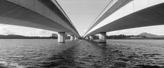 (trentcsc) Tags: bridge bw lake film water vanishingpoint australia places panoramic canberra delta3200 horizon202 iso1600 ddx pull1