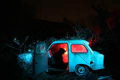 One Mans Junk Is Another Mans Treasure (Unedited) ([Nocturne]) Tags: lighting old longexposure nightphotography blue light red lightpainting art abandoned car night trash canon vintage painting photography rust long exposure nightlights cheshire flash retro morrisminor 500 moris oldcar derelict gels 30d nocturnes nightlighting flashgels aplusphoto nightabandoned trashbit noctography abandonedatnight abandonednight wwwnoctographycouk