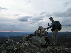 "Cairn on the ""higher"" Canadian peak of Armstrong"