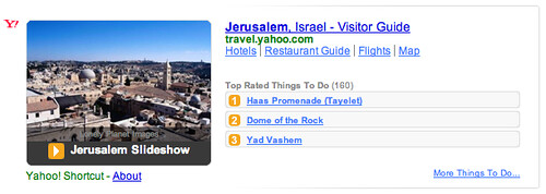 Yahoo Search Adds Travel Shortcuts