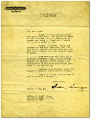 Letter from Andrew Carnegie to William Brett