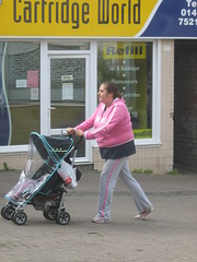 Young mother in Stroud (Eleventh Earl of Mar) Tags: uk baby britain mother visit cotswolds gloucestershire september gb stroud buggy chav littlebritain pushchair 2007 vickypollard pramface