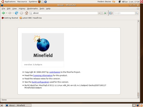 Un firefox pré3.0alpha9 sous Ubuntu Gutsy Gibbon Beta pour AMD64