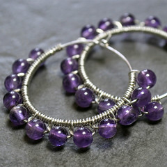 Amilia Earrings (sparklingtwi) Tags: glass silver hoop purple jewelry handcrafted earrings amethyst grape beaded bhv gemstone wirewrapped sparklingtwi
