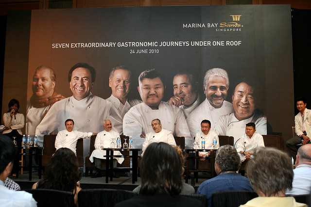 Five larger-than-life celebrity chefs held court before 300 international media