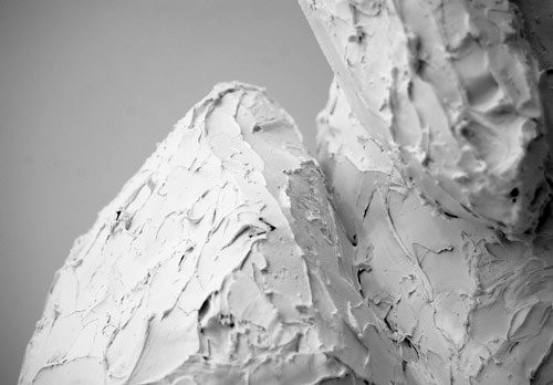 Minimalist Photograph of a Detail from a White Rabbit Sculpture by Meg Wolfe