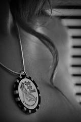 Truth (Sudden Fiction) Tags: lighting bw woman white black window girl field lady canon dark hair naked eos necklace shiny brighton dof top bare poker short chip blinds slats shoulder shady depth bought blackwhitephotos 400d