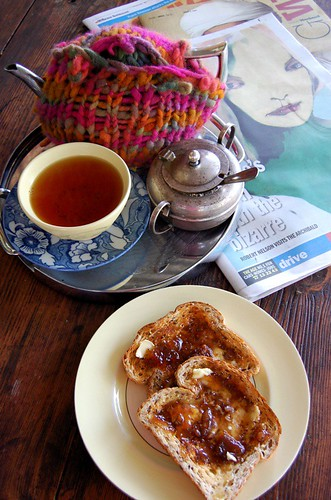 Earl Grey Tea, Newspaper, and Fig+Walnut Jam on Toast