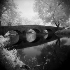 Burnside Bridge in IR (eye of wally) Tags: blackandwhite bw 6x6 film mediumformat ir holga maryland infrared epson medium format antietam efke r72 burnsidebridge hoyar72 bwdreams epson4490 4490 sharpsville ir820 efkeir820