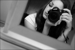 nikon love (ladyinpink) Tags: camera blackandwhite selfportrait love photography mirror nikon emotion f45 passion concept nikond80 chercherlafemme