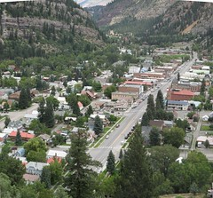 Ouray, CO (brunoboris) Tags: mainstreet colorado mountaintown aerialview rockymountains sanjuanmountains ouray miningtown ourayco highway550 us550 tightpanorama