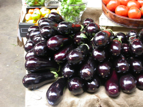 Aubergines in The Borough market. London