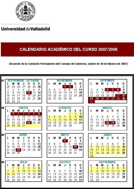 Calendario Escolar Valladolid.Calendario Academico Universidad De Valladolid 2007 2008