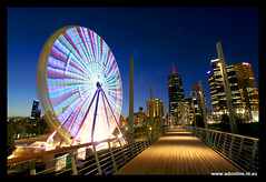 Giant Sky Wheel (3), Melbourne (Adam Dimech) Tags: park city wheel night skyscraper evening amusement twilight australia melbourne ferris victoria led ferriswheel yarra birrarung marr birrarungmarr themoulinrouge lightemittingdiode abigfave giantskywheel
