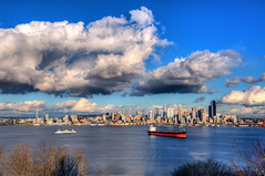 Seattle Skyline & Storm Clouds (Surrealize) Tags: seattle city storm ferry skyline clouds port buildings washington nikon cityscape menacing spaceneedle pugetsound shipping hdr elliotbay columbiatower d700 surrealize