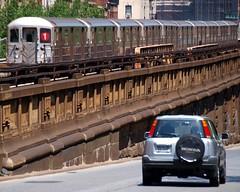 No. 1 Train, Broadway Elevated Subway Tracks, Harlem, New York City (jag9889) Tags: city nyc newyork car train honda subway 1 automobile harlem manhattan broadway tracks number transportation vehicle mta elevated suv 2010 y2010 jag9889