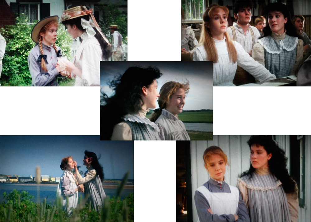 Five images of Anne and Diane from Anne of Green Gables