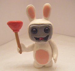 Raving Rabbid bot (Sleepy Robot 13) Tags: pink urban cute art fun toy toys robot funny robots polymerclay fimo figurines clay gamer kawaii sculpey etsy urbanvinyl designertoys sculpy sleepyrobot13 videogamepanda