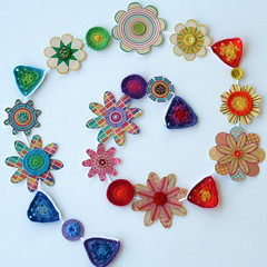 papercraft and crochet garland (rettgrayson) Tags: crochet garland cotton bunting paperflowers vintagebuttons crochetcircles grannytriangle