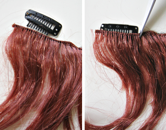 how to make clip in hair extension from a wig+DIY+Hair Tutorial+Costumes+Halloween wig - 5