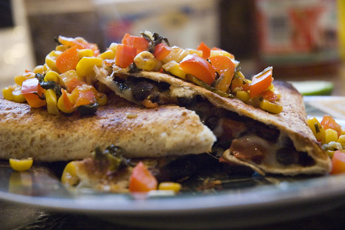black bean quesadillas with charred corn salsa