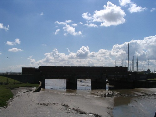 Photo:The flood barrier, will it be up to it? Cross the bridge and the creek where once Viking longboats gathered, before King Alfred's men beat and scattered them, and a 'WELCOME TO CANVEY ISLAND'.