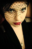 she wore crimson #51 (lauraisakitten) Tags: red woman black color eye girl dark veil lace cameo lipstick pinup 40s