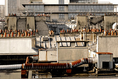 On Paris's roofs (S amo) Tags: windows roof paris france glasses pipes pipe rusty roofs toit chimneys vitres tuyau fentres toits tuyaux chemines