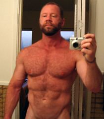 Required self-in-mirror shot (bigrob66) Tags: shirtless hairy man male me pecs beard muscle chest