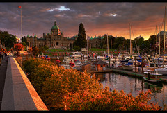 The Inner Harbour (HDR) (Brandon Godfrey) Tags: city trees sunset summer urban canada water clouds marina boats scenery colorful bc britishcolumbia sony details capital parliament scene victoria tourist vancouverisland dome pacificnorthwest colourful alpha dslr legislature 2009 hdr highdynamicrange jamesbay causeway innerharbour a300 domed photomatix tonemapped tonemapping