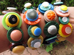 Vintage Button Bracelets (trailerfullofpix) Tags: colors vintage project diy buttons circles crafts funky jewelry retro plastic explore bracelet recycle done 130 madebyme creativereuse yourtrashmytreasure looklikelittlestrawhats imgettingbetterattakingmacroshots