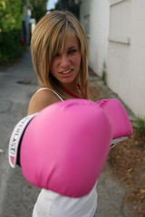 (williamjonathan) Tags: pink portrait urban beautiful canon ally shoot blonde glove boxing lakeland 30d teethe fisty