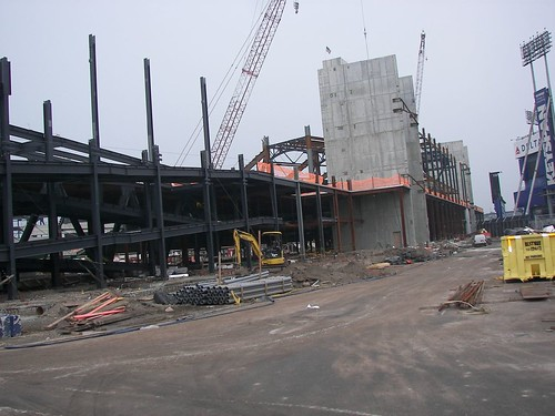 The skeleton for the outer left field facade - July 2007