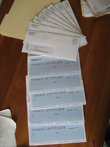 Gift Certificates roll in . . .