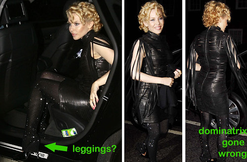 Kylie Minogue recently appeared at Hoxton, London in some weird leather garb