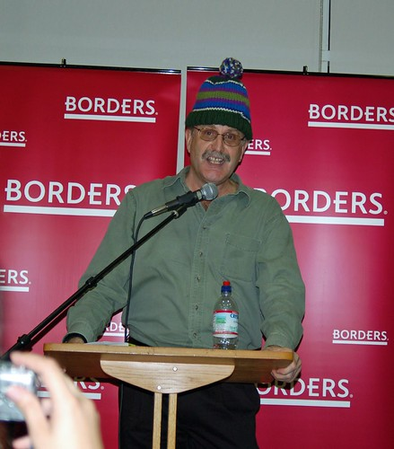 Borders manager in his knit hat