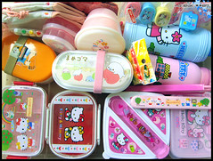 Bento Box Collection (Hailey Kitten) Tags: cute rascal japanese box hellokitty sanrio container toothpicks kawaii chopsticks bento accessories lunchbox bentobox sanx mamegoma saucecontainers bentobag soysaucecontainer