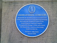 Photo of Leeds General Cemetery, Leeds and John Clark blue plaque