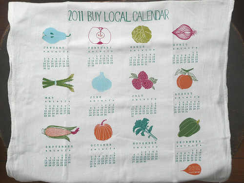 2011 Calendar Tea Towel flat