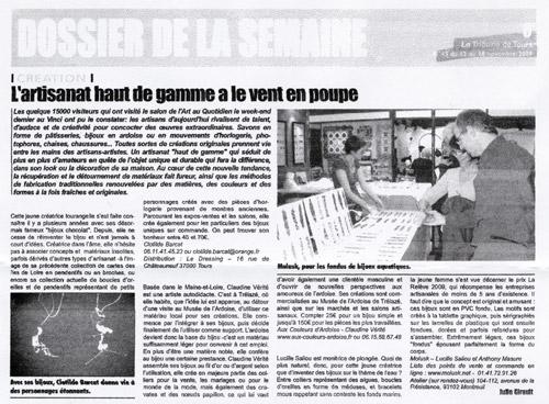 Article Tribune Tours - Novembre 2009